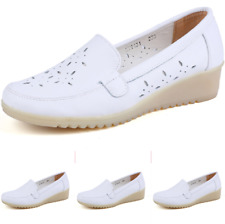 Womens Platform Hollow Nurse Loafers Creeper Wedge Low Heel Pump Shoes Leisure