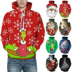 Christmas Hooded Sweatshirt Santa Grinch Funny Hoodie Xmas Pullover Top Casual
