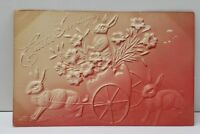 Easter Greetings Embossed Airbrushed Rabbits & Eggs Flower Cart  Postcard B12