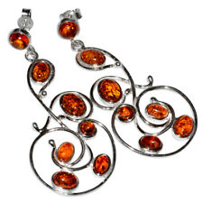 11g Authentic Baltic Amber 925 Sterling Silver Earrings Jewelry N-A5410