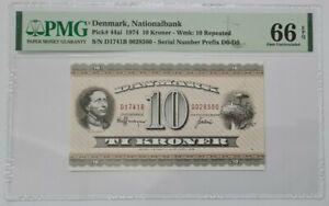 1974 DENMARK 10 Kroner PMG66 EPQ GEM UNC {P-44ai}