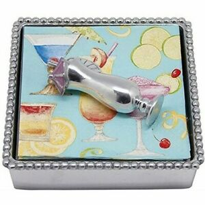 Mariposa Beaded Napkin Box Tropical Drink Metal Silver Color NEW