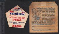 1959 Cessna aircraft advertising unused label and original envelope