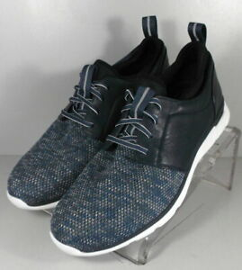253057 MS50 Men's Shoes Size 12 M Navy Leather/Fabric Lace Up Johnston & Murphy