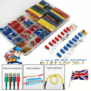 678 PCS Car Electrical Wire Terminals Insulated Crimp Connectors Spade Set Kit