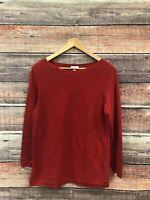 J JIll Perfect Red Long Sleeve Cotton Blend Sweater Tunic Soft Womens Petite M
