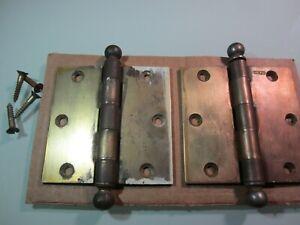 2 Vintage Stanley door Hinges Brass Heavy Ball Top 1 pair 3.5 inches