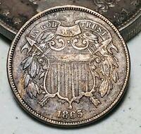 1865 Two Cent Piece 2C FULL MOTTO Ungraded Civil War Era US Copper Coin CC7062