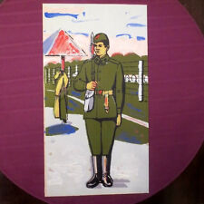 1970s Soviet Russian USSR Red Army SOLIDER GUARD w/ a GUN Painting Poster RUSSIA