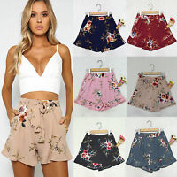 S-2XL Women High Waist Belt Floral Casual Ladies Summer Beach Hot Pants Shorts