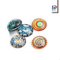 10 Glas Cabochon Mosaik Mix Set 25mm und für Fassung Bunte Glaskuppel BEST R342