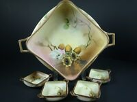 ANTIQUE HAND PAINTED NIPPON SERVING BOWL WITH 4 DIPPING BOWLS