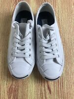 CONVERSE Jack Purcell White Leather Lace Up Athletic Sneakers Women Shoes 6.5