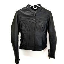 Womens Leather Jacket XS Black Motorcycle Jacket W Liner STREET & STEEL Felicity