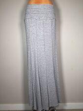Bordeaux Anthropologie Gray White Stripe Ribbed Maxi Skirt Size L
