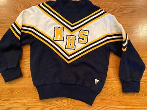 Vtg Authentic Cheerleader Sweater Navy White Yellow Size 38 Halloween Costume