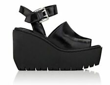 NIB $345 Opening Ceremony Spazzolato Leather Luna Black Wedges sz 8/38