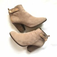 Coach Hewes Light Feather Grey Suede High Stack Heel Ankle Boots 39.5EU 6.5UK