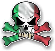 SKULL & CROSSBONES Design & Italy Italian il Tricolore Flag car sticker decal