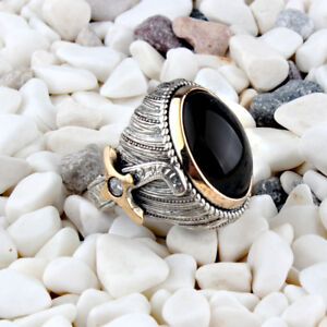 Handmade pure 925 SILVER rings Onyx stone Box for Men all sizes wedding RRP £60