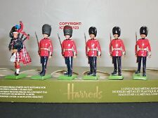 BRITAINS HARRODS SCOTS GUARDS PIPER + 5 MARCHING METAL TOY SOLDIER FIGURE SET