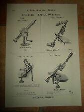 Vintage Corkscrew Images Copy Print L Lumley & Co Minories London #602