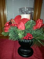 Elegant HOLIDAY Lighted Centerpiece w/genuine wax LED candle 12in display