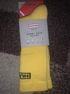 NWT Hunter Womens Ori Knit Short Boot Socks Yellow L/XL