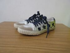 ASH Blue and silver leather star print trainers - size 4, 37.
