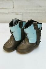 Old West Infant Poppets Cowboy Boots-Brown & Blue w/Star, Style 10043