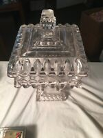Beautiful Vintage Clear Square Crystal Pedestal Candy Dish W/Lid