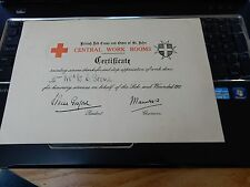 RED CROSS CERTIFICATE WAR WOUNDED WW1 DOCTOR NURSE SURGEON MILITARIA STONE