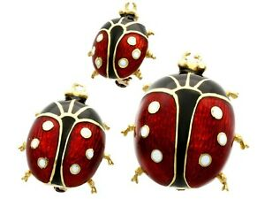 Enamel and 18k Yellow Gold Ladybird Brooches - Vintage 1980