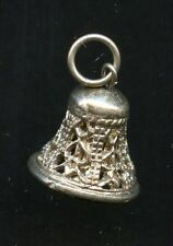 Filigree Style Jingle Bell Pendant Charm Vintage 925 Sterling Silver AI797