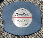 Wards Vintage POWR-KRAFT 100 ft White Steel Tape Measure Model 84-4098-100 USA