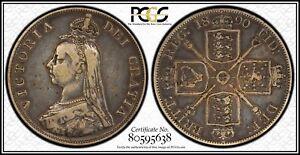 1890 Silver Great Britain Double 2 Florin PCGS VF25 Very Fine UK Label Error