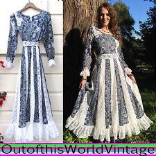 Vtg 70s PRAIRIE DRESS blue white FLORAL LACE gunne sax inspired BOHEMIAN BOHO M