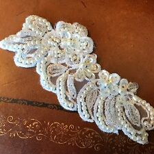 "APPLIQUE Flowers WHITE Leaves Swirls 2x4 3/4"" PEARLS Glass BEADS Sequins 1pc"