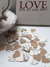 1000 Romantic Paper Heart kraft vintage book confetti Wedding Table Decoration