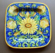 Hand Painted Ceramiche Giacomini Orvietto Blue, Yellow & Green Majolica Plate