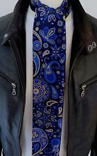 SUPERNOVA SCARVES Navy & Tan Signature Silk Paisley Mod Scarf 60s Scooter Indie