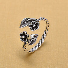 Women Vintage Silver Toned Leaves Flower Branch Opening Rings Trinket SK