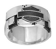 Harley-Davidson Mens Ring, Industrial Bar & Shield Logo Band, Silver HDR0351 (9)