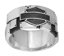 Harley-Davidson Mens Ring, Industrial Bar & Shield Logo Band, Silver HDR0351 (9)