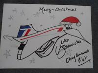 A Copy of  a Concorde British Airways Mike Bannister Hand Drawn Christmas Card