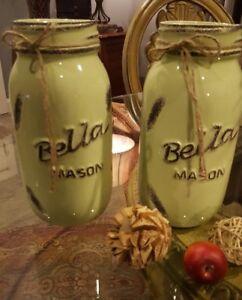 Free shipping Extra Tall distressed green mason jars, Glass distressed  jars