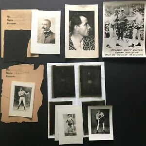 1900-10s Boxing Lot Billy Madden Charley Mitchell Film Negatives & Photos (12pc)