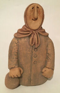 """Vintage Studio Art Clay Pottery Old Babushka Woman With Jug Excellent 9"""" Signed"""