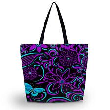 Purple flower Soft Foldable Tote Women's Shopping Bag Shoulder Bag Lady Handbag