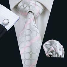 Silber Grau Rosa Wabe Streifen Seide Krawatte Set Einstecktuch Knöpfe Breit K179